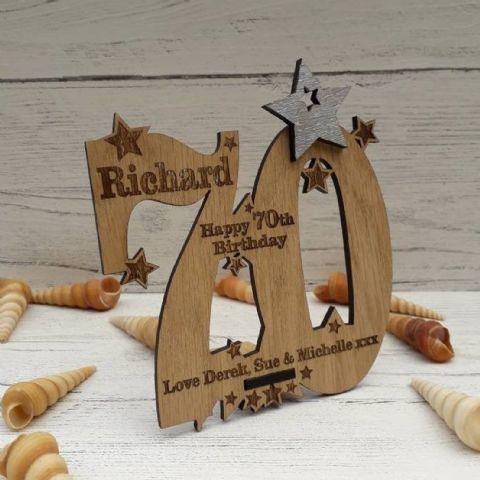 Personalised Seventieth 70th Birthday Celebration Card Oak Wooden Keepsake Gift